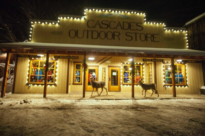 Deer on boardwalk at Cascades Outdoor Store